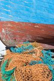 Inshore Fishing Boat, with Fishing Nets at Southwold Stock Photography