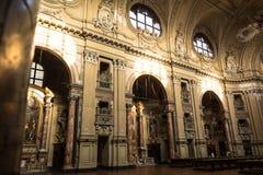 Insida av kyrkan av San Filippo Neri i Turin, Italien arkivbilder