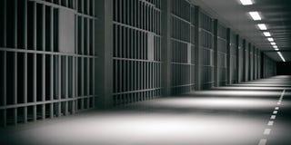 Insida en arrest med dramatiskt ljust Arrestceller, mörk bakgrund illustration 3d royaltyfri illustrationer