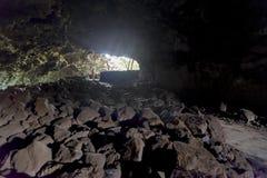 Insida en grotta i påskön Royaltyfria Bilder