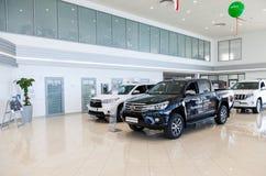 Insida i kontoret av den officiella återförsäljaren Toyota Royaltyfria Bilder