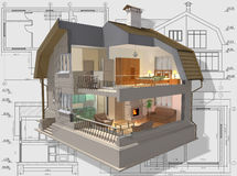 Inside. 3D isometric view the cut residential house on architect�s drawing Royalty Free Stock Photos