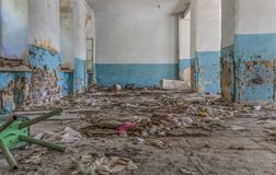 Inside the abandoned buildings of Yerevan stock photo