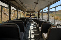 Inside of an abandoned bus stock images