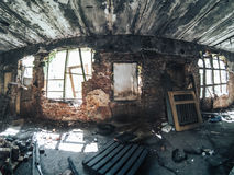 Inside abandoned industrial factory Royalty Free Stock Photo