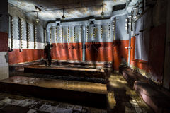 Inside abandoned power plant. Low light captures specially for creating abandonment atmosphere Royalty Free Stock Photos