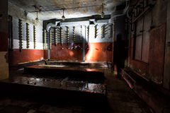Inside abandoned power plant. Low light captures specially for creating abandonment atmosphere Stock Images