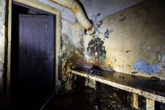 Inside abandoned power plant. Low light captures specially for creating abandonment atmosphere Stock Image