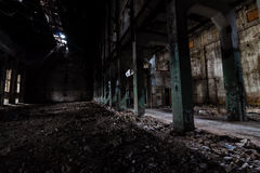Inside abandoned power plant. Low light captures specially for creating abandonment atmosphere Stock Photo