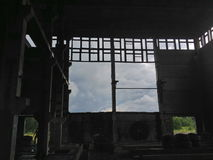 Inside of an abandoned thermal power plant Royalty Free Stock Photo