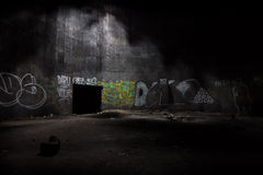 Inside the abandoned underground fuel tank. Fuel tank of abandoned power station Stock Photography