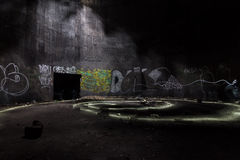Inside the abandoned underground fuel tank. Stock Image