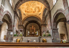Inside of abbey church in San Candido. Stock Photo