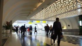 Inside Abu dhabi Airport terminal. stock footage