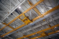 Inside Aerospace Production Facility. Airplane Production Factory Overhead Crane royalty free stock photography