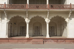 Inside Agra Fort. India. Inside the fortress of Agra. balcony view of the Moorish style with columns and arches stock photos