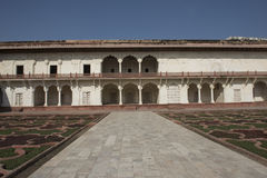 Inside Agra Fort. India. Inside the fortress of Agra. View of the courtyard and gardens royalty free stock images