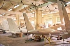 Inside aircraft workshop. Stock Photo