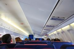Inside airplane Royalty Free Stock Photos