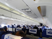 Inside Airplane Cabin Royalty Free Stock Photos