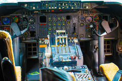 Inside Airplane. Cockpit Flyt Pilot Hightech Royalty Free Stock Photo