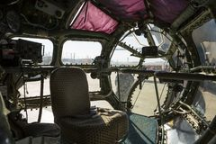 Inside of an airplane. Designed for aerial cartography, reconnaissance and transport. Old technology aircraft Stock Photography