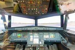 Inside airplane pilot cabin. Stock Photos