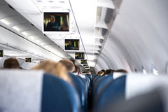 Inside a airplane Stock Image