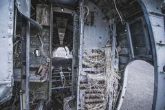 Inside of airplane wreck. In Iceland at summer stock photo