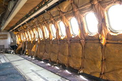 Inside airplane wreckage fuselage Royalty Free Stock Photo
