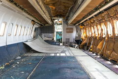 Inside airplane wreckage fuselage Royalty Free Stock Images