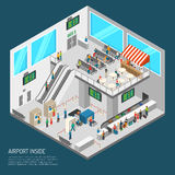 Inside Airport Isometric Poster. Airport poster of terminal inside presenting arrival hall receipt of baggage inspection zone and other isometric vector Stock Photos