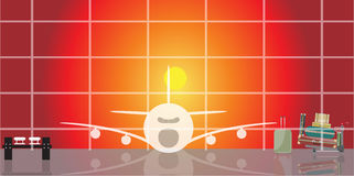 Inside the airport scene on sunset time. Vector illustration of inside the airport scene on sunset time Stock Photography