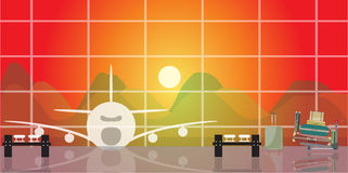 Inside the airport scene on sunset time. Vector illustration of inside the airport scene on sunset time Royalty Free Stock Image
