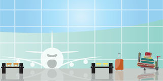 Inside the airport scene. Vector illustration of inside the airport scene Stock Photos