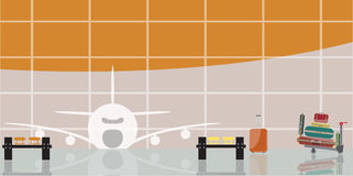 Inside the airport scene. Vector illustration of inside the airport scene Stock Photography