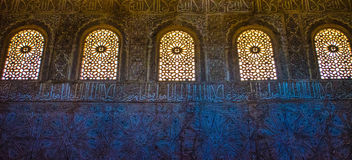 Inside of the Alhambra. Intricate moorish architecture in the Alhambra in Granada, Spain royalty free stock photo