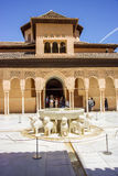 Inside Alhambra Palace. The most famous symbol of Granada in Spain. 6000 tourists by day in summer. On UNESCO list Royalty Free Stock Photo