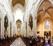 Inside of Almudena Cathedral  in Madrid, Spain. Royalty Free Stock Photo
