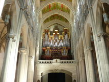 Inside Almudena Cathedral in Madrid, Spain stock photos