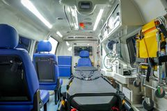 Inside an ambulance car with medical equipment royalty free stock photography