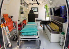 Inside of an ambulance for the hospital Stock Photos