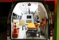 Inside an ambulance with medical equipment . Car for patient refer royalty free stock photos