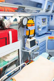 Inside the ambulance, view from the sanitary compartment. Royalty Free Stock Photography