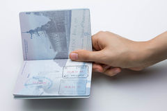 Inside of American Passport with Arrival/Departure Stamps Stock Photo