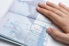 Inside of American Passport with Arrival/Departure Stamps Royalty Free Stock Photos