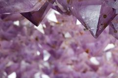 Inside an Amethyst Geode 2. Macro of the inside of an amethyst geode Stock Photography