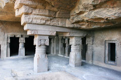 Inside of ancient Ellora Buddhist temple Royalty Free Stock Photos