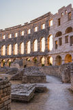 Inside of Ancient Roman Amphitheater in Pula, Croatia Stock Photos