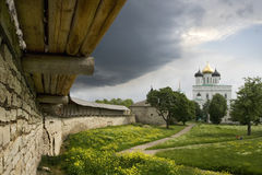 Inside of an ancient russian  fortress. Inside of an ancient fortress in the city of Pskov. Russia Stock Photos